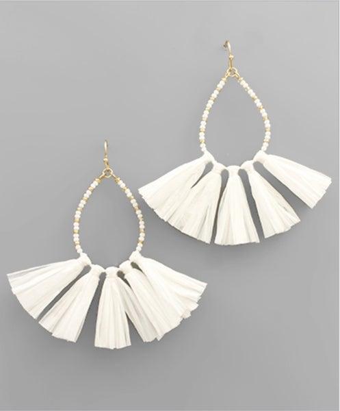 Real Talk Raffia Fan Earrings-white