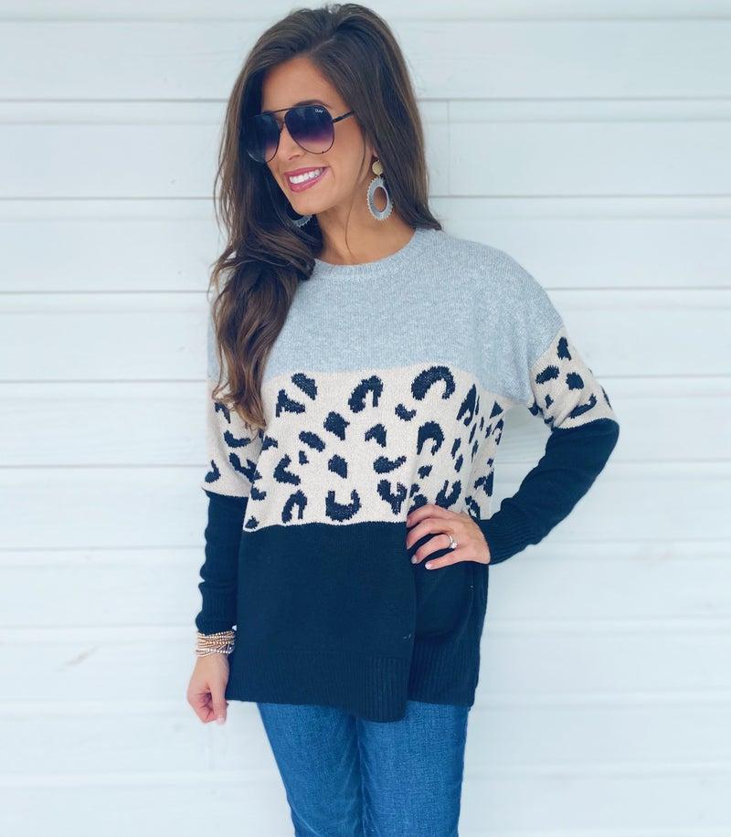 Landry Color Block Sweater- Black