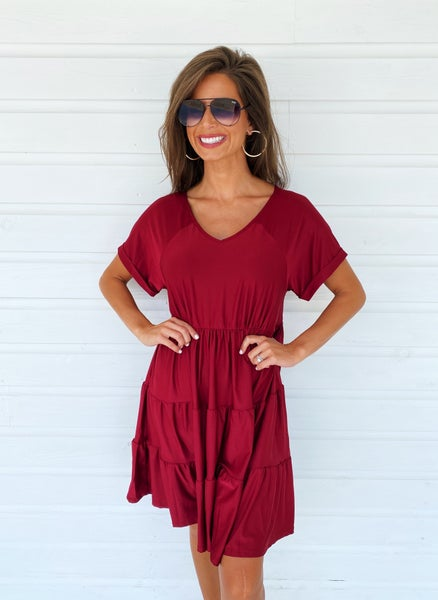 Adalyn Ruffle Dress- Wine