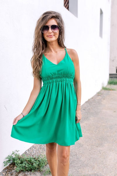 Walking On Sunshine Dress- Green