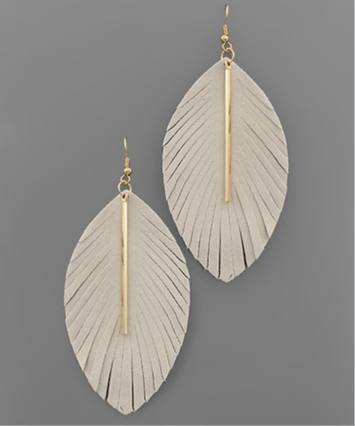 Ivory & Bar Leather Feather Earrings