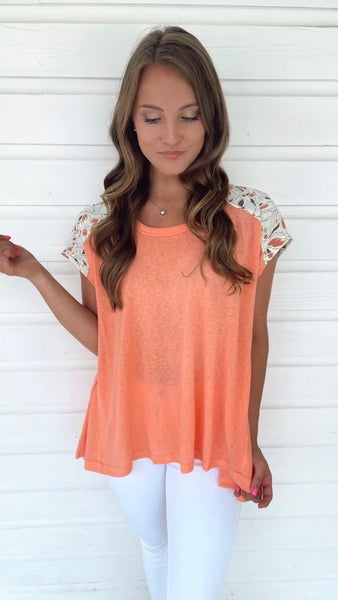Take It Easy Coral & Floral Top