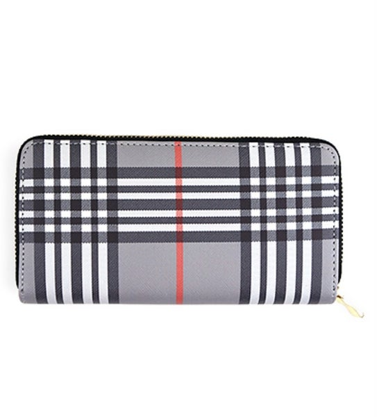 Priceless Plaid Wallet- Grey