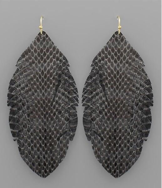 Anna Grey Animal Print Leather Earrings