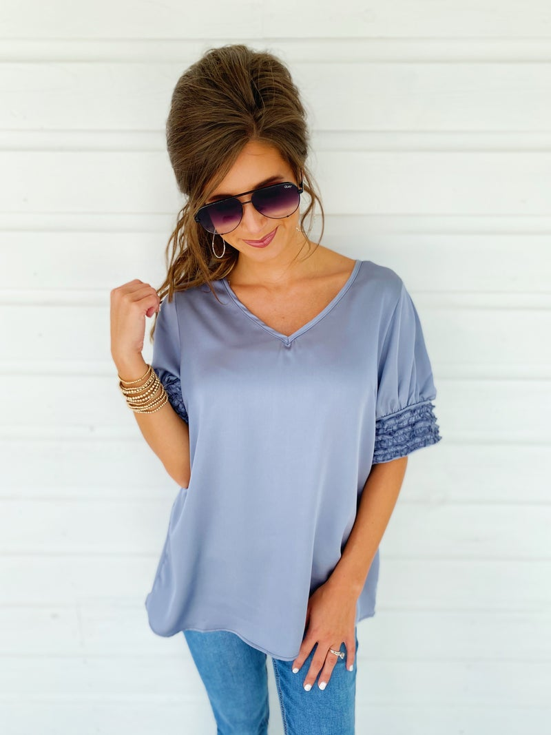 Slate Blue Ruffle Sleeve Top