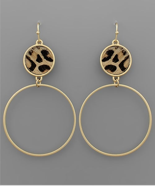 Love These Leather Circle Earrings- Leopard