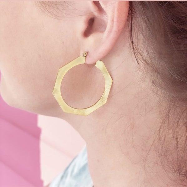 Bold Gold Octagon Hoop Earrings