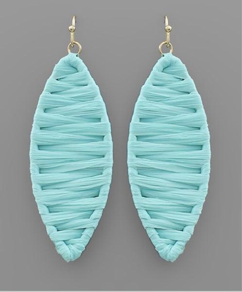 Raffia Wrapped Earrings-blue