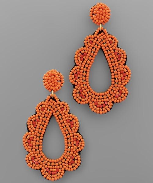 Scarlett Scallop Beaded Teardrop Earrings- Orange