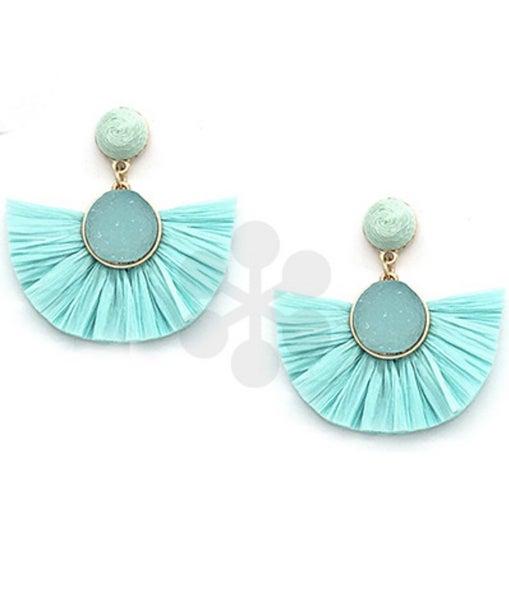 Nicole Druzy & Fan Earrings- Mint
