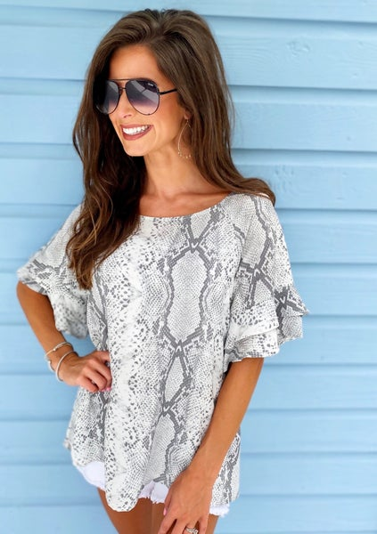 Grey Python Printed Top