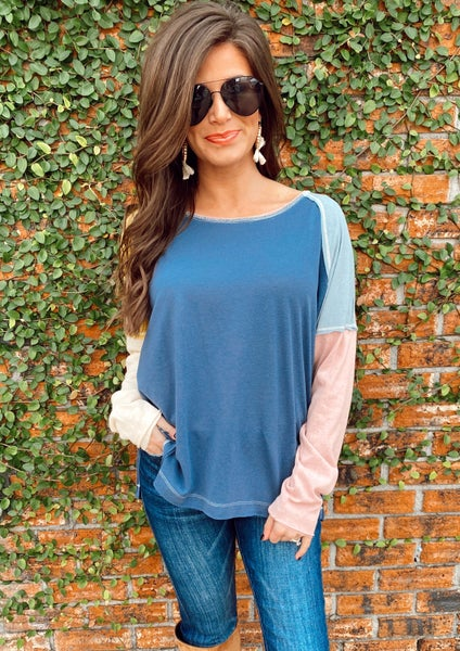 Sweet As You Navy Colorblock Top