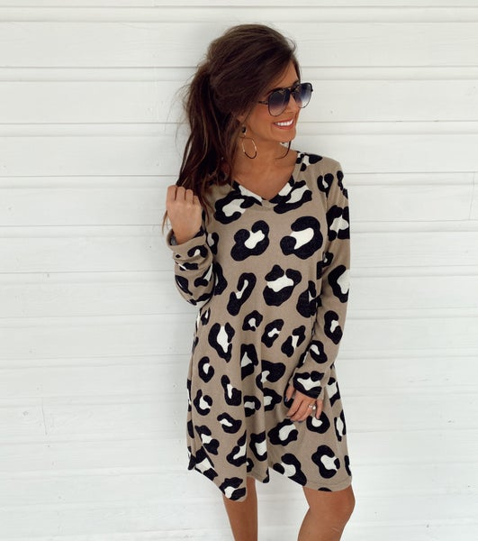 Totally Taupe Leopard Print Dress
