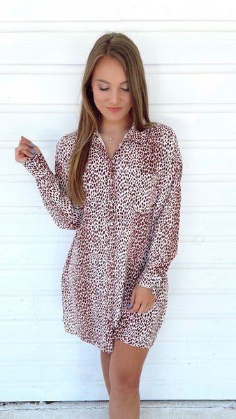Live It Up Leopard Shirt Dress