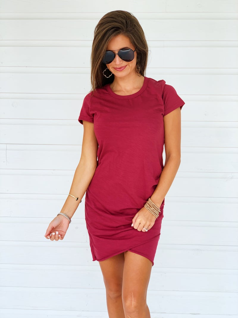 Kate Cinched Dress- Berry