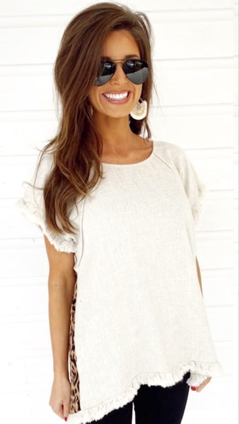 Oatmeal & Leopard Frayed Top