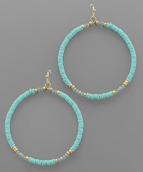 Mint For You Beaded Circle Earrings