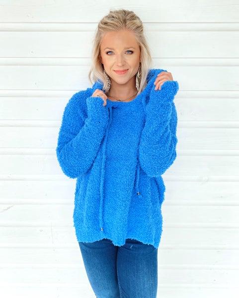 Sweet Blue Fuzzy Hoodie