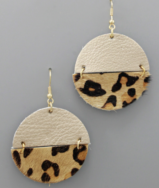Circle Leather Leopard Earrings