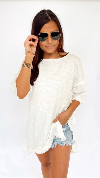 Off White Top With Fringe Detail