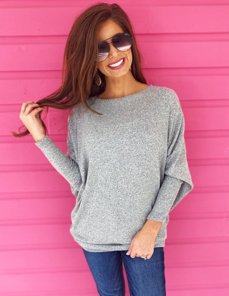 Heather Grey Dolman Sleeve Sweater