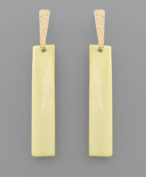 Bar Shell Dangle Earrings-yellow