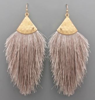 Grey and Gold Tassel Earrings