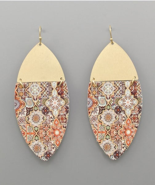 Perfect Pattern Gold & Leather Earrings