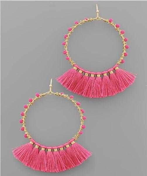 Hottie in Pink Tassel Earrings