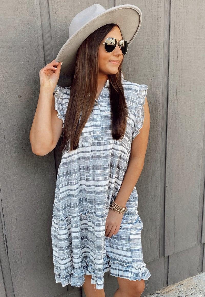 Georgia Grey Ruffle Dress