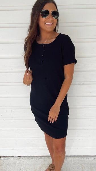 Riley Ribbed Black Dress