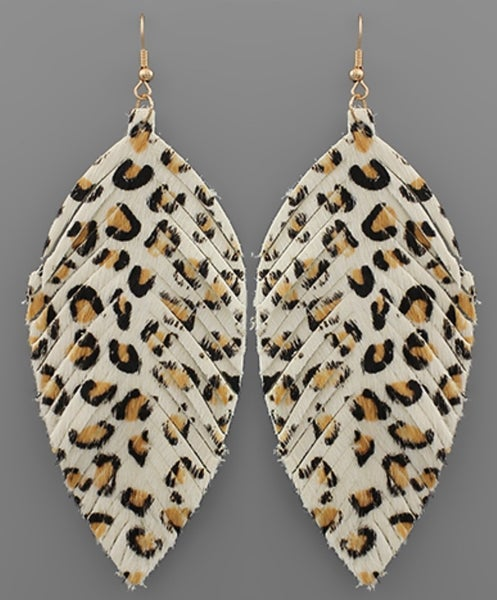 Ivory Leopard Leather Feather Earrings