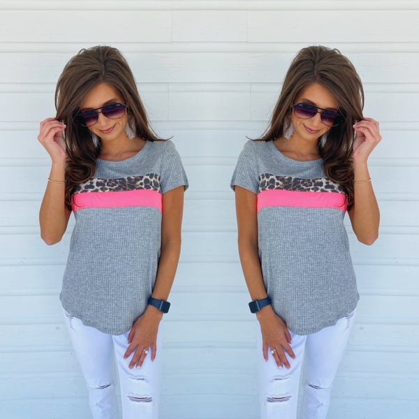 Heather Grey & Hot Pink Top
