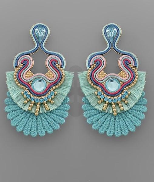 Tessa Turquoise Shimmer Tassel Earrings