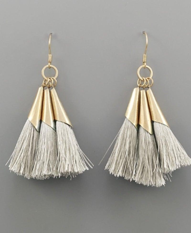Dainty Ivory & Gold Tassel Earrings