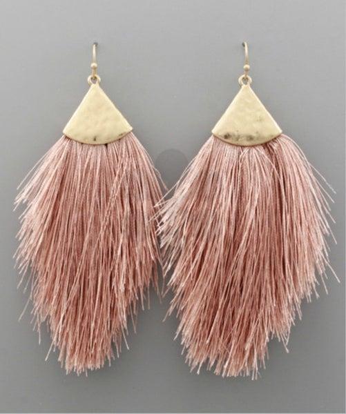 Dusty Pink & Gold Tassel Earrings