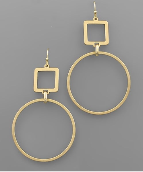 Golden Square & Circle Earrings