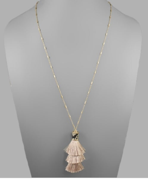 Snake Cap & Blush Tassel Necklace