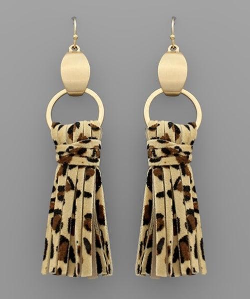 Love For Leopard Leather Tassel Earrings