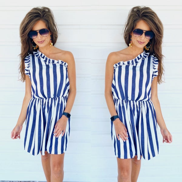 Beachin' For Days Dress- Navy