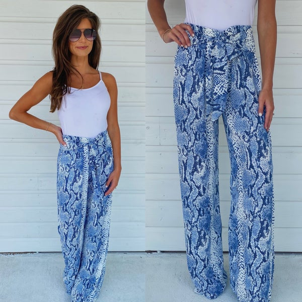 Don't Be Blue Python Tie Front Pants