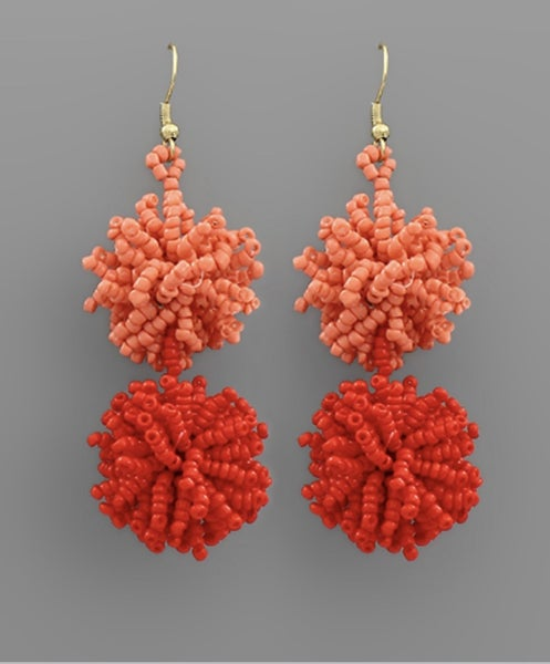 It's Party Time Red PomPom Earrings