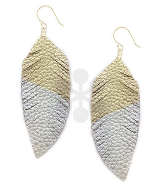 Double Take Leather Feather Earrings