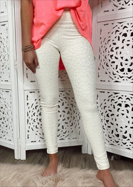 Stacie Leopard Textured Leggings- Natural