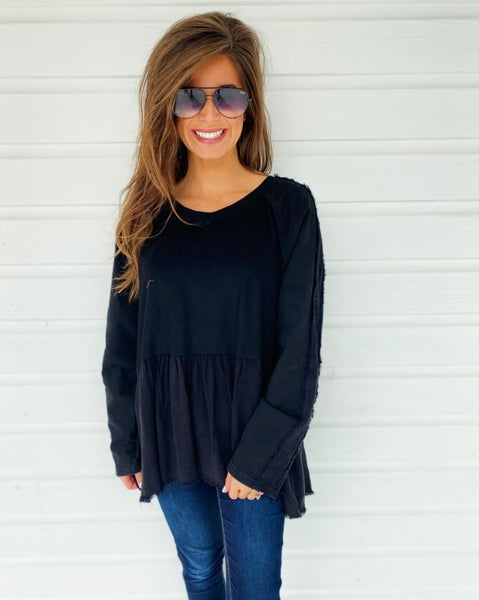 Penelope Peplum Top- Black