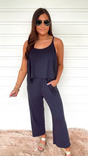 On Time Navy Jumpsuit