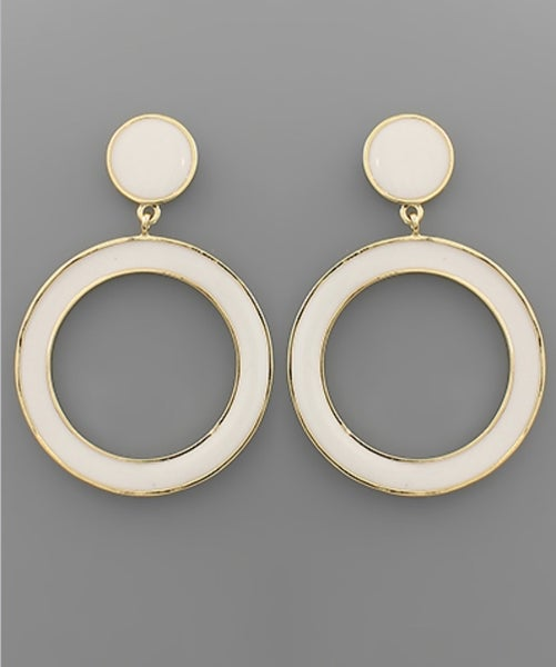 On Record Drop Hoop Earrings-white