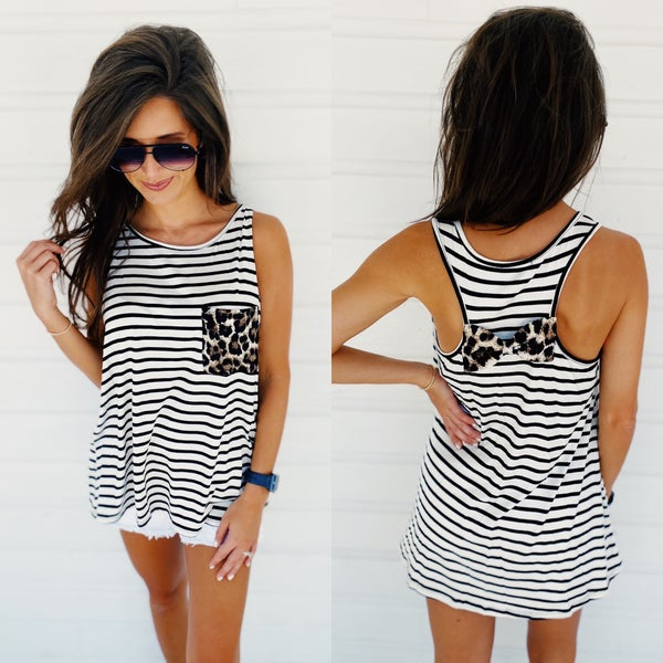 Stripes & Cheetah Pocket Tank