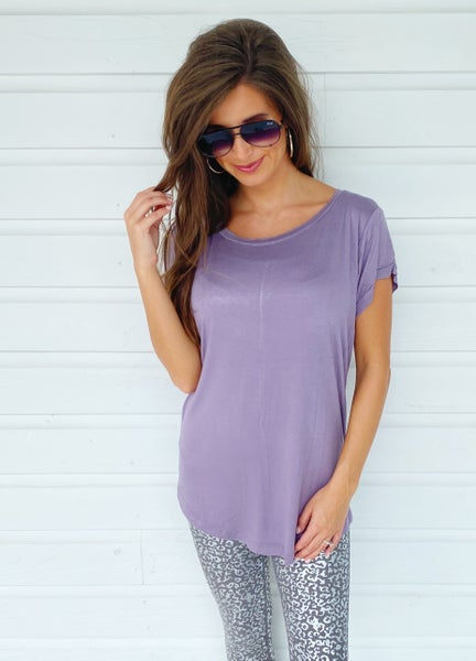 Everlee Scoop Neck Top- Lilac