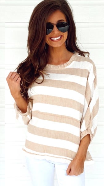 On The Beach Latte Striped Top